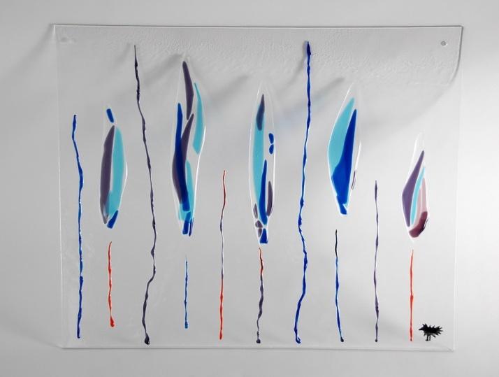 Raampaneel blauwe veren